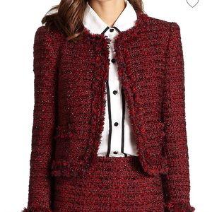 Alice + Olivia Frayed Tweed Jacket